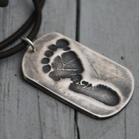Baby Footprint Necklace--DAD--Dog Tag--YOUR baby's footprint--Fine Silver--Single Footprint