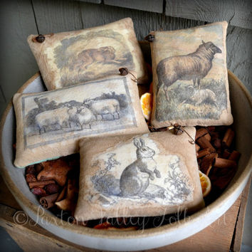 Sheep and Rabbit Bowl Fillers Four Vintage Image Pillow Tucks Rustic Cutter Quilt and Muslin Stash Abouts