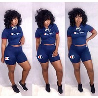 Champion Classic Fashion Woman Leisure Embroidery Short Sleeve Top Shorts Set Two Piece Sportswear