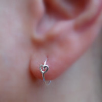 Heart Hoop Earring Sterling Silver Handcrafted 10mm Inner Diameter