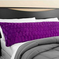 Elegant Faux Fur Body Pillow Cover - Removable With Zip Cover - Purple