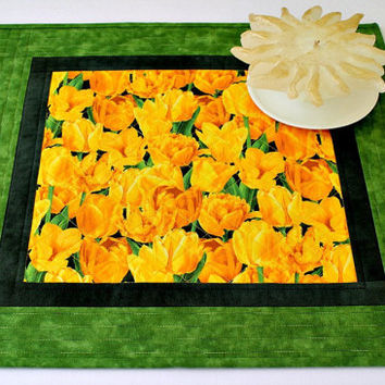 Quilted Spring Table Topper, Yellow Tulips, Candle Mat, Table Runner, Easter Table Mat, Table Quilt, Quiltsy Handmade