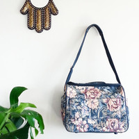 70's Boho Bag~ FLORAL Luggage Weekender Bag~ Overnight Bag Vintage Retro Tote Bag~ Makeup Bag~ Portfolio~ Bohemian Bag~ Tapestry Bag~ Carpet
