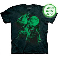 THREE WOLF MOON GLOW IN THE DARK T-Shirt Mountain Wolves Howling Night S-5XL NEW
