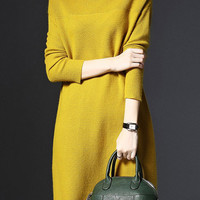 Yellow Long Sleeve Knit Sweater Dress