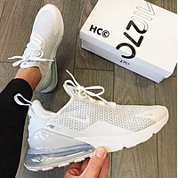 Air Max 270 Nike Fashion Men Women Casual Air Cushion Sport Running Shoes Sneakers White