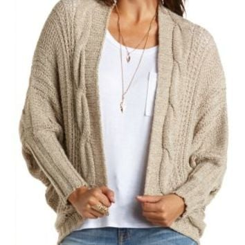 Cable Knit Cocoon Cardigan Sweater by Charlotte Russe