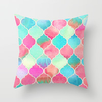 Watercolor Moroccan Patchwork in Magenta, Peach & Aqua Throw Pillow by Micklyn
