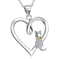 Jewelry Heart Cat Necklace Sterling Silver Cat Charm Necklace