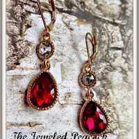 EARRINGS ~ ruby RED Christmas, gold and red, dangle, gift, womens earrings, fancy, crystal, holiday