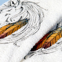 Embroidered Horse and Feather Towel- Native American Horse Embroidery- Horse Decor- Embroidered Bath Towel- Horse Kitchen Towel- Horse Lover