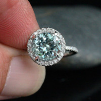 Single Halo 14k White Gold 9mm Aquamarine Round and Diamonds Wedding or Engagement Ring (Choose color and size options at checkout)