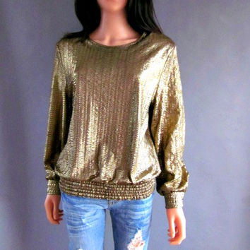 80s Gold lame Blouse Gold lame Shirt Gold Lame top Disco top Grunge shirt Liquid Gold Top Cocktail Party Gold Metallic Top