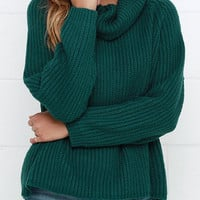 Dark Green Cowl Neck Cable Knit Sweater