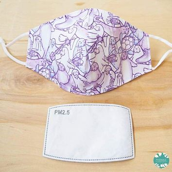Pocket Face Mask + Adjustable Loops ~ Purple Seal Party