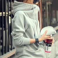 Fashion Solid Color Pocket Hooded Long Sleeve Sweater