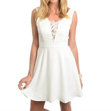 Lace Trim Fit and Flare Dress in White