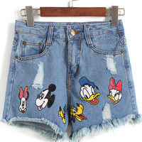 Blue Donald Duck Print Fringed Denim Shorts