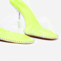 Charmed Studded Detail Barely There Perspex Heel In Line Green Faux Suede