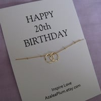 20th birthday gift for sister jewelry, 20th Birthday SISTERS necklace, 2 Eternity rings jewelry for her, 2 friends. 20th Birthday Gift.