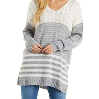 V-Neck Mixed Stitch Marled Pullover Sweater