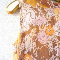 Vintage 60s 70s Does 20s Style Great Gatsby Dress // Boho Floral Sheer Scooter Drop Waist Dress // Mod Collared Dress