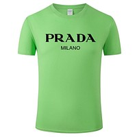 Onewel Prada T Shirt Big V Top Print Classic Women Men Lovers Sweatershirt Green
