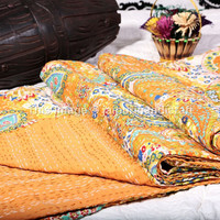 Orange Paisley Indian Queen Size Kantha Quilt Bedspread Blanket Bedding Throw, Cotton Kantha Quilt, Paisley Kantha Bed Cover, Queen Size
