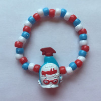 Shopkins Foodie Bracelet - Squeaky Clean - repurposed toys - Limited Americana Edition