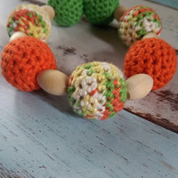 ON SUPER SALE Nursing/Teething Necklace and Teething Ring- Green, Yellow, Orange, and White- Eco Baby Teething- Eco Mom Jewelry