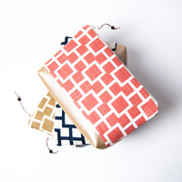 Bridesmaid Gift or Best Friend Gift, Gift For Women, Faux Leather Cosmetic Clutches, Coral Blue Geometric Wedding Clutch, Thank you Gift