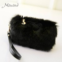 New Fashion Style Women Handbags Fur Clutch Bags Evening Tote Casual Little Female Bolsas High Quality Solid Zipper Party Purse