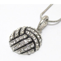 """Crystal """"Bling"""" Volleyball Necklace"""
