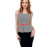 White & Black Striped Heart Cut Out Belted Peplum Knit Top