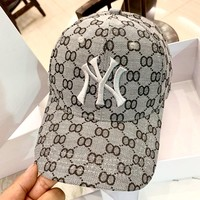MLB 2019 new three-dimensional embroidery couple baseball cap cap grey