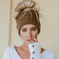 Messy Bun Knitted Beanie - Confetti Taupe Mocha