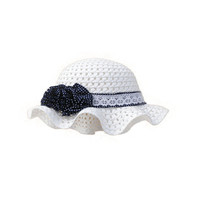 Summer Fashion Baby Girl Sun Protection Hat With Flowers -White
