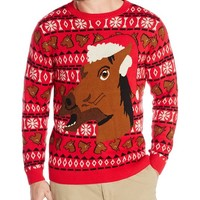 Alex Stevens Men's Happy Holidays Horse Ugly Christmas Sweater, Red Combo, Large