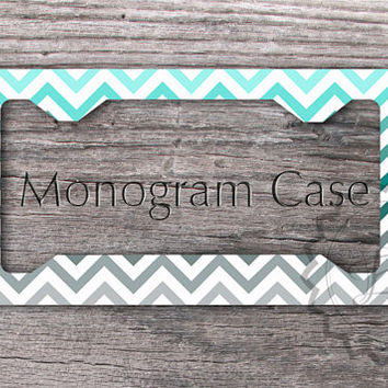 Monogrammed License Plate Frame - Tiffany blue, Teal and Gray chevron personalized car tag, custom name , cute car tag frame - 048