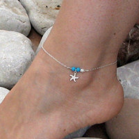 Starfish Anklet, Sterling Silver Bar Ankle Bracelet, Turquoise Anklet, White Freshwater, Beach Foot Jewelry, Bridesmaid Gift Under 25