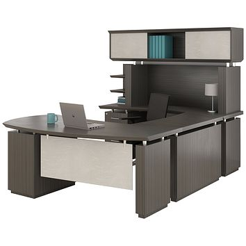"""Mayline Sterling Series U Shaped Right Handed Desk System with Bridge and Credenza Box/Box/File and File/File Pedestal and Non-Handed Hutch, 72"""" Textured Driftwood Laminate"""