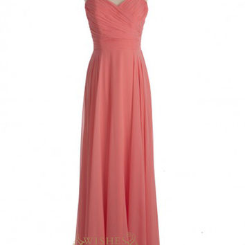 A-line Coral Chiffon Floor Length Bridesmaid Dresses AM381