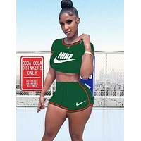 NIKE Summer Fashion New Letter Hook Print Sports Top And Shorts Two Piece Suit Women Green