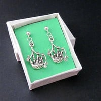 Bagpipe Charm Earrings Sterling Silver Post Scottish Music Jewelry