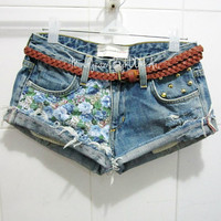 Make To Order - Vintage Florals Blue Cotton Printed and Gold Cone Studded Cut Off Shorts
