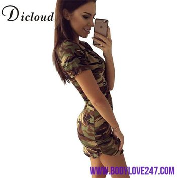 DICLOUD 2018 Fashion Women Summer Dress Short Sleeve Sexy Mini Dresses Green Camouflage Print Midi Dress Woman Vestidos S-XL