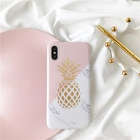 For iphone X case Pineapple marble TPU Phone cases For iPhone 7 7plus Soft TPU case for iphone 6s 6plus 8 8plus