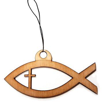 Jesus Fish Christian Laser Engraved Light Wooden Rear View Mirror Car Charm Dangler