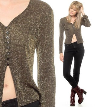 Gold Blouse Metallic Button Up Shirt 90s Cropped Cut Out PEEK A BOO Disco Top Glam 1990s Vintage Party Keyhole Sparkly Belly Extra small xs