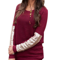 Casual Scoop Neck Sequined Long Sleeve Knitwear Sweater